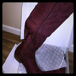 Over the knee wine boots
